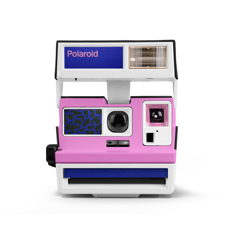 Pop Deco Pink Blue White Polaroid Camera Front view