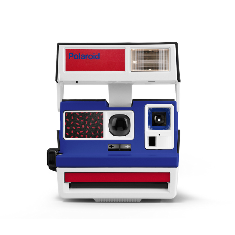 Pop Deco Blue White Red Polaroid Camera Front view