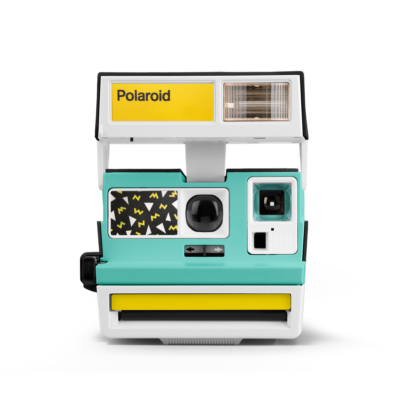Pop Deco Green Yellow White Polaroid Camera Front view