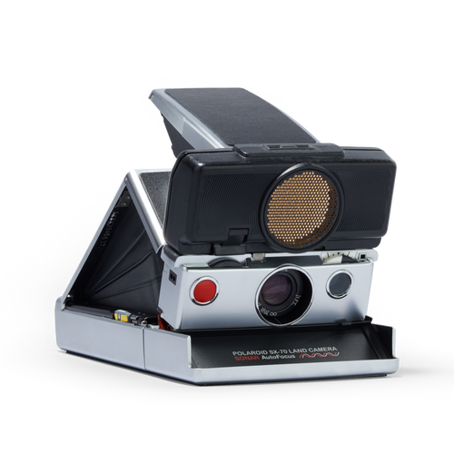 Silver and Black Polaroid SX-70 Autofocus Instant Camera Front view