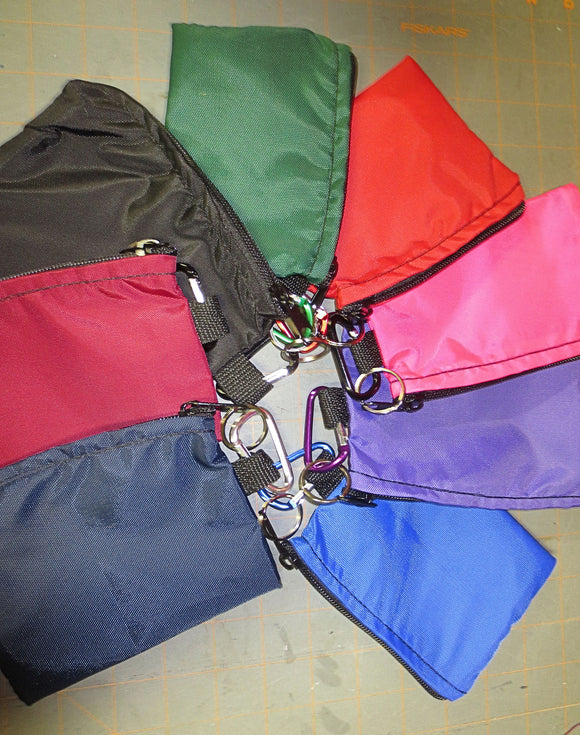 Zippered nylon pouch bags