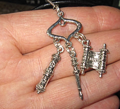euro triple charm necklace Torah Mezuzah Yad