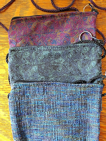 tapestry zippered pouches purses with cording for neck or waist wear