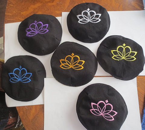 Lotus Flower small embroidered kippah