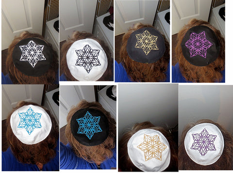 Embroidered Elegant Star of David kippah