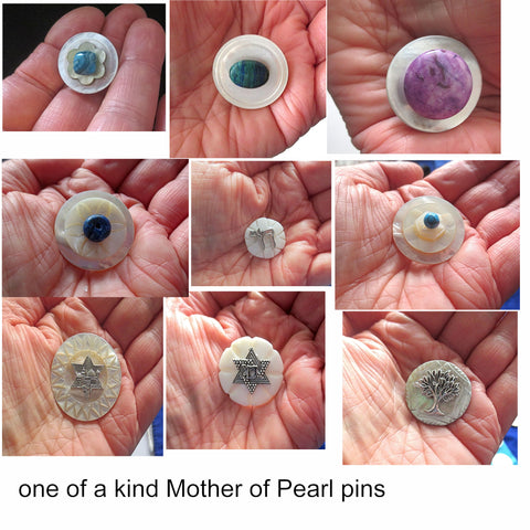 hand-crafted mother of pearl pins