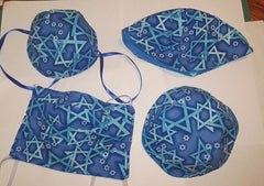 aqua Star of David face mask and kippah set