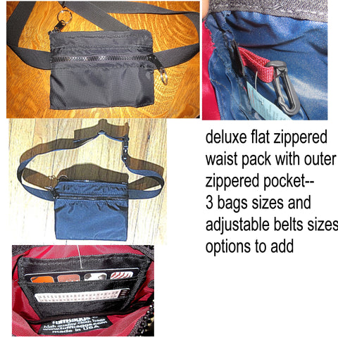 deluxe flat waist packs with outer zippered pockets