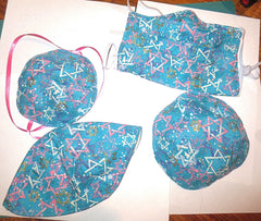 Judaica matching face mask and kippah
