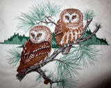 Saw whet owl pair hand quilted wall hanging pine cones realistic pair of owls--great holiday gift for him or her