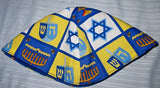 Chanukah Judaica kippahs Hanukkah yarmulkes --  many patterns of Menorahs, Dreidels, Stars of David