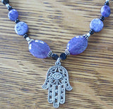 Hamsa gemstone beaded purple black necklace