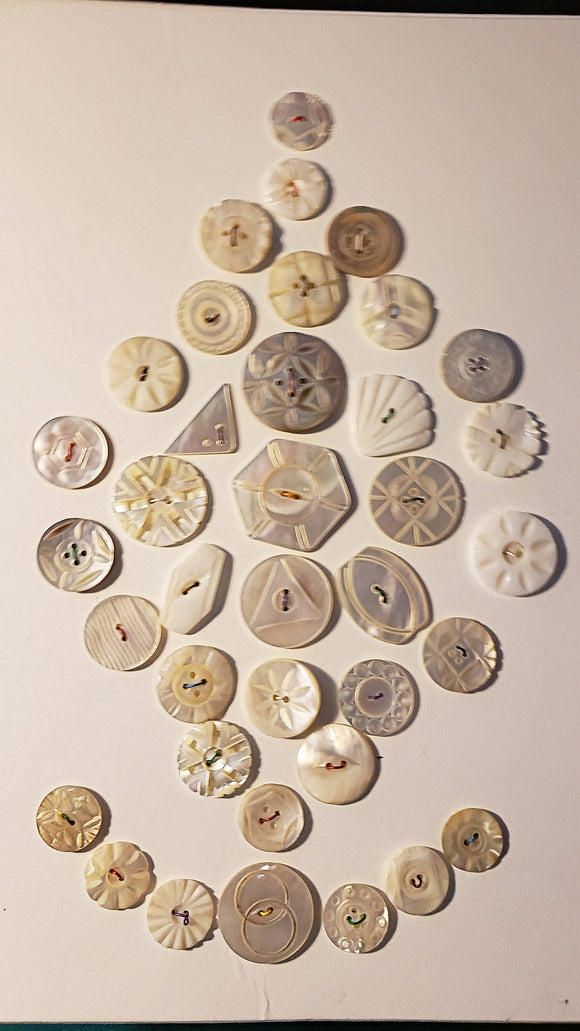 Antique and Vintage carved Mother of Pearl buttons set on card 37 all different gorgeous pearls