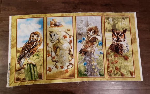 Owl species cotton panel Giordano Studios vintage