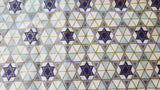 Judaica Shabbat or holiday many beautiful small golden blue Stars of David fabric remant