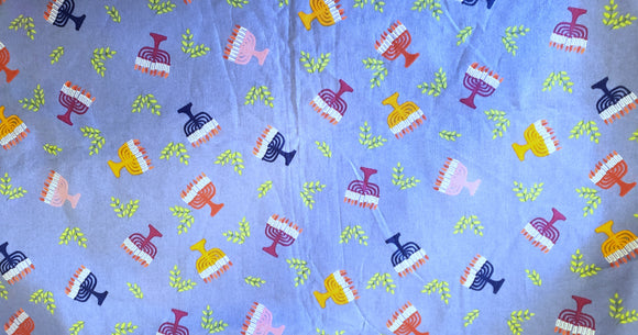Chanukah colorful Menorah gorgeous fabric
