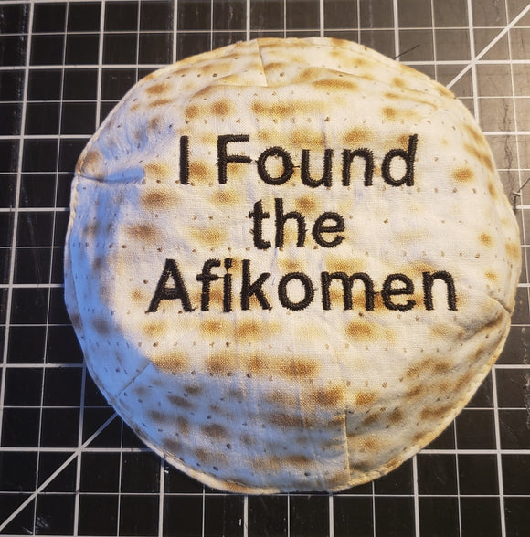 I found the Afikomen embroidered small kippah saucer style