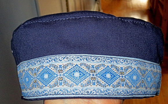 Bucharian kippah with tapestry trim Sephardic hat style yarmulke select many styles