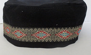 Bucharian kippah with tapestry trim