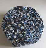 Blue tan black print Bucharian kippah