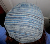 Blue Chenille Stripes Tapestry Bucharian kippah