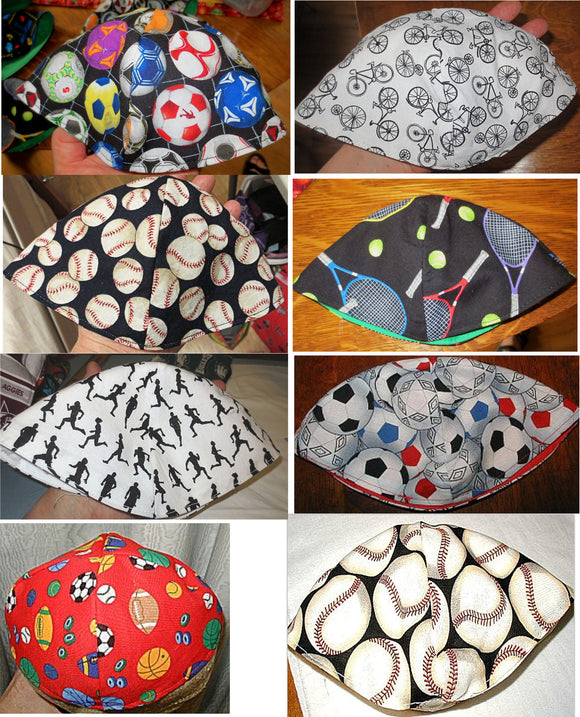 Sports themed kippah play tennis, run, bike, kick the soccer balls, race cars, play sports yarmulke