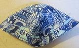 Tallis prayer shawl navy blue zippered bag with Jerusalem blue theme Hebrew