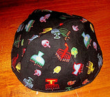 Chanukah kippahs or Hanukkah yarmulkes Menorahs and Draidles  black