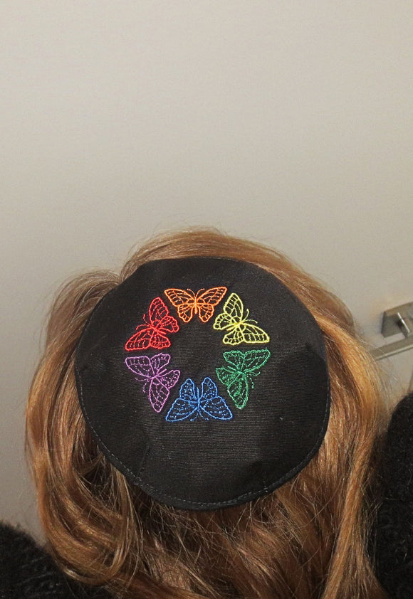 Colorful Butterflies small embroidered kippah
