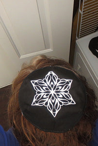 Elegant embroidered Star of David kippah or yarmulke