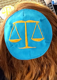Scales of Justice small kippah or saucer yarmulke