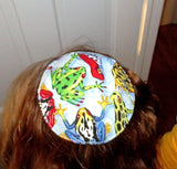 Passover Reversible Saucer kippah or yarmulke -- choose each side matzoh frogs plagues