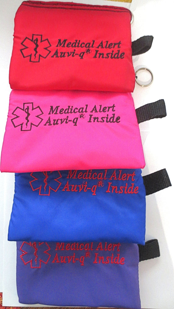 Auvi-q medical alert label insulated holder carrier bag embroidered