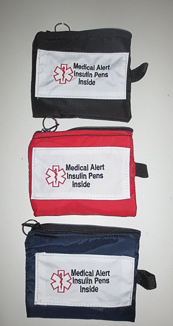Insulin pens medical alert label insulated holder carrier bag white label embroidered