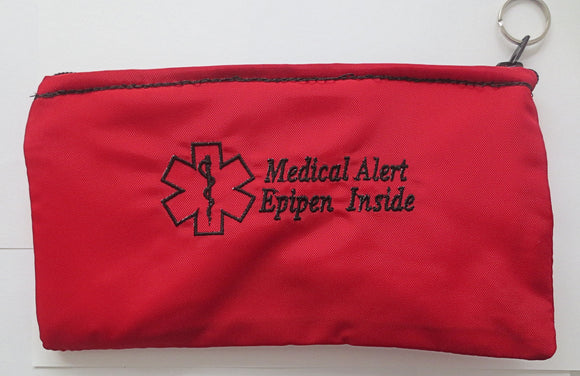 Epipen ® medical alert label insulated holder carrier bag embroidered