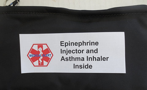 Epinephrine plus Asthma alert medications inside medical label Toss in your bag zippered insulated case