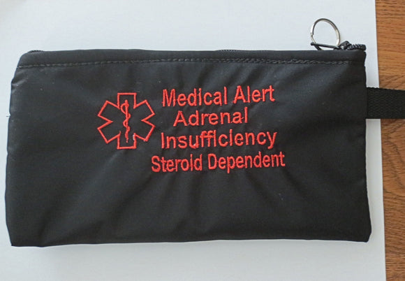 Adrenal Insufficiency Toss in your bag zippered medical insulated case with alert label