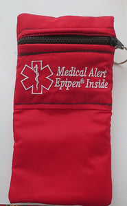 Epinephrine Insulated Case/ carrier / holder pouch for Epipen ®, AnaPen ® auto-injector systems with medical alert label