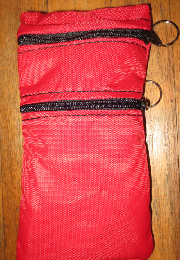 Insulated double zippered carrier / holder pouch for medications needing insulation red