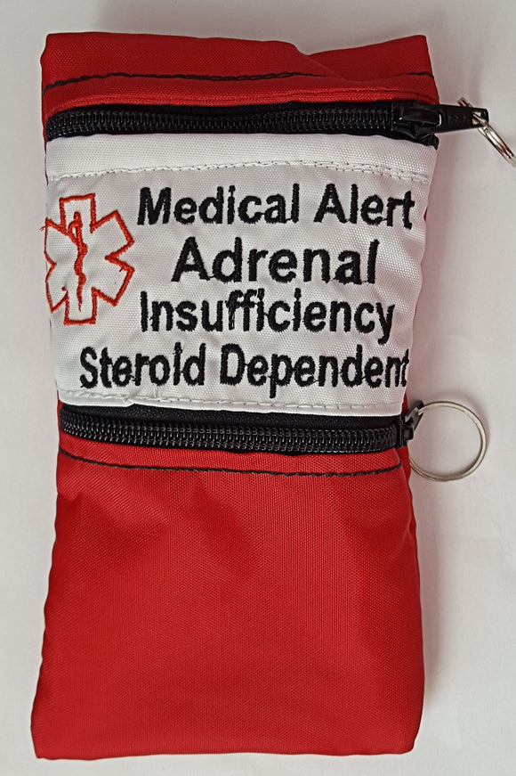 Medical Alert Adrenal Insufficiency weather proof case pouch carrier insulated zippered bag
