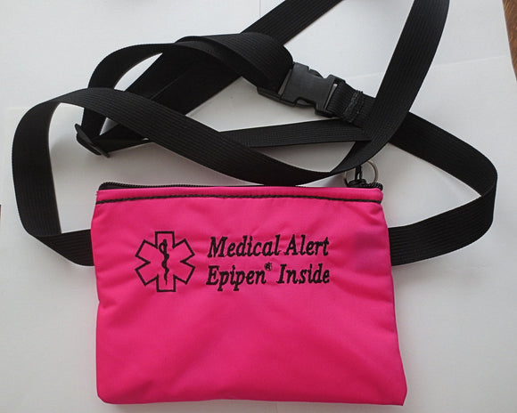 Epinephrine Insulated waist pouch bag or pack with medical alert label for Epi Pen ®, Ana Pen ® and other auto-injector systems