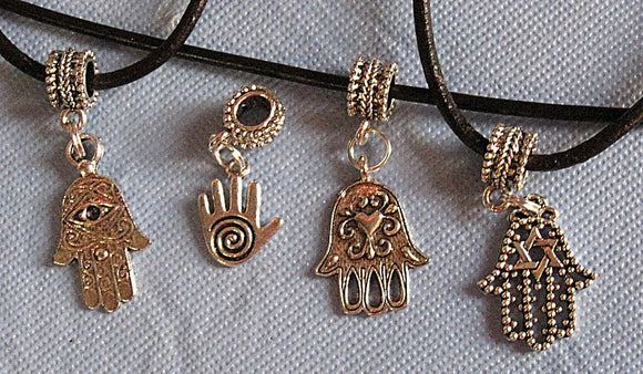 Hamsa or Hand of Fatima simple silver pendants --- 4 different patterns