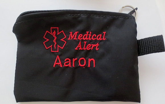 Inhaler cases carriers medium size embroidered medical alert label medication holders