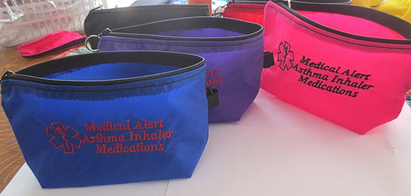 inhaler case / carrier large size embroidered medical alert + options