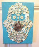 Hamsa mother of pearl button art work Hand of Fatima Chamesh