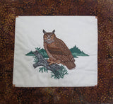 Great Horned Owl hand quilted wall hanging batik realistic hand quilted owl --- great gift for any owl lover