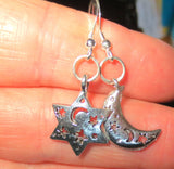 Star of David silver charm earrings sterling silver ear wires