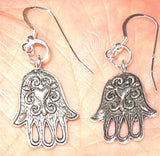 Hand of fatima hamsa with a heart earrings