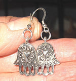 Heart Hamsa silver earrings handmade