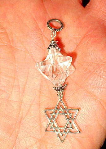 Star of David with beautiful gemstone merkaba gemstone pendant all sterling silver---choice of merkabah ---great gift for her